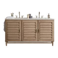 "Portland 60"" Double Vanity White Washed Walnut, Base Cabinet Only"