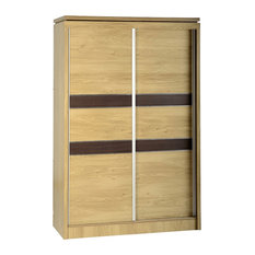 Obs - Charles 2-Door Sliding Wardrobe, Oak With Walnut Trim - Wardrobes and Armoires