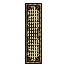 High Country Rooster Rug, Black, 2'x8', Runner