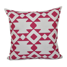 "Geometric Decorative Pillow, Fushia, 18""x18"""