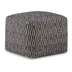 Graham Transitional Square Pouf In Patterned Black, Natural Cotton