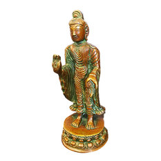 Mogul Interior - Standing Buddha Sculpture Handmade Brass Statue Indian Religious Idol Meditation - Decorative Objects And Figurines