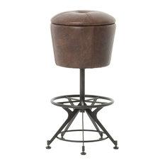 Autumn-Elle Designs Harmon Bar Stool, Leather Seat Havana Waxed Black