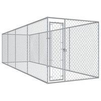 "vidaXL Outdoor Dog Kennel Lockable Mesh 299""x75.6""x72.8"" Galvanised Steel Cage"