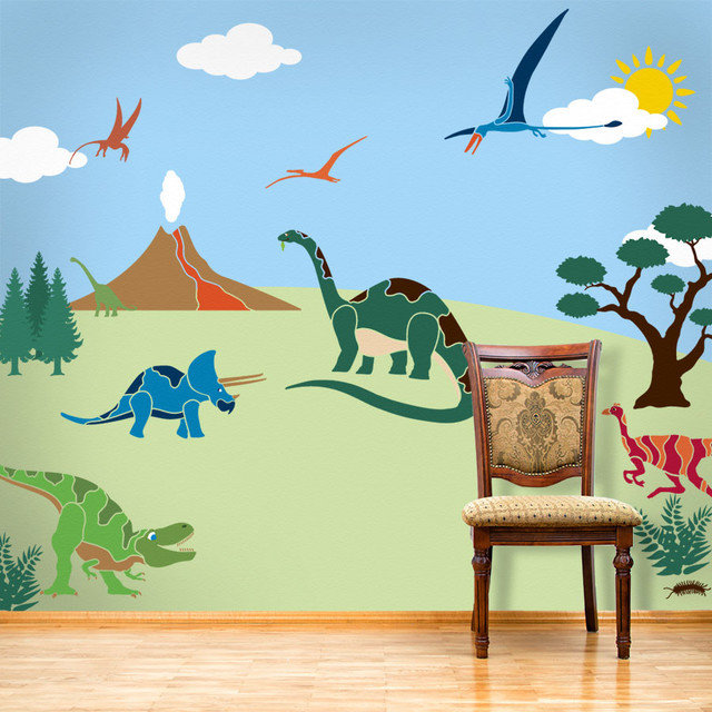 Dinosaur Days Wall Mural Stencil Kit For Painting
