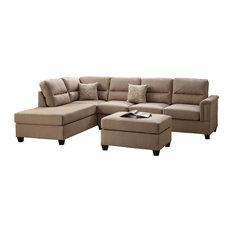 Poundex Associates Corp. - 3 Pcs Sand Polyfiber Reversible Sectional Sofa, Set - Living Room Furniture Sets