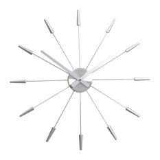 Plug Inn Wall Clock, Silver