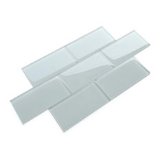 "3""x6"" Glass Subway Tile Mosaic Backsplash, Set of 16, Ice"