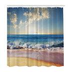 Blue Ocean Big Sky Pink Sand Beach Fabric Shower Curtain