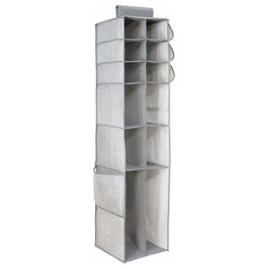 Modern Hanging Closet Storage Organizer, Fabric With 16-Compartment, Grey
