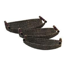 "3-Piece Set Seagrass Metal Basket Tray, 19"", 17"", 15"""