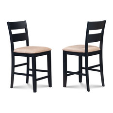 Counter Height Bar Stool Dining Chair Black Set Of 4