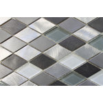 """Rocky Point Tile - Metro Diamond Brushed Aluminum and Glass Mosaic Tile, 12""""x12"""" - Nothing says downtown like our Metro aluminum and glass mosaic tiles. This is great option for a modern kitchen backsplash. Colors include silver, mid and dark grey brushed aluminum pieces. Glass colors include white and grey."""