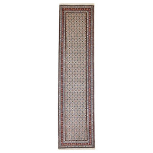 Moud Persian Rug, Hand-Knotted, 294x75 cm