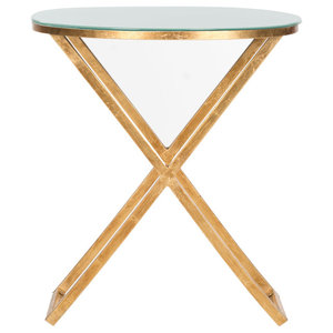 Safavieh Lillian Accent Table, Gold and White Glass