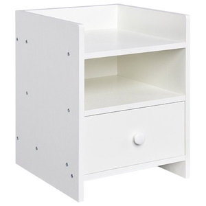 Bedside Table, White Finished MDF With 1-Drawer and Open Shelves for Storage