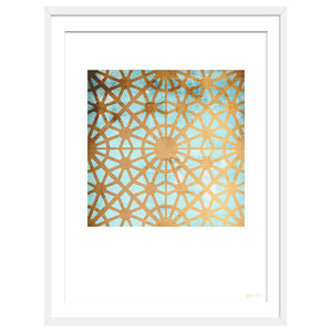 """A New City Of Gold"" Geometric Art Print, White Framed, 40x50 cm"