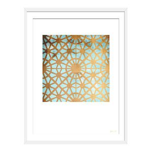 """A New City Of Gold"" Geometric Art Print, White Framed, 40x50 cm"