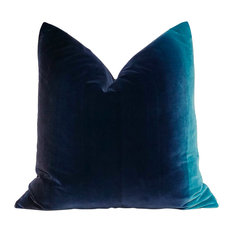 "Ombre Velvet Pillow, Blueberry, Lagoon, 20""x20"", With Pillow Insert"