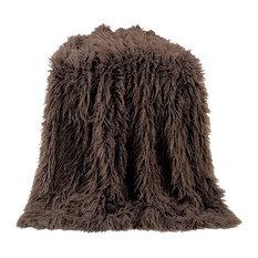 Mangolian Faux Fur Throw, 50x60 Chocolate