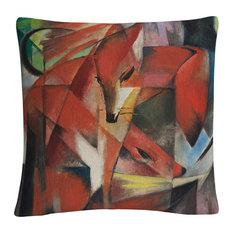 "Franz Marc 'The Fox 1913' 16""x16"" Decorative Throw Pillow"