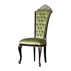 Opulent Dining Chair With Green Upholstery, Without Armrests