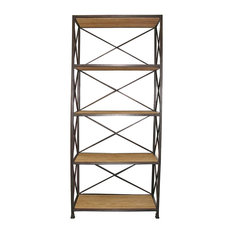 Stockport Metal Wood Industrial Rustic Open Bookcase