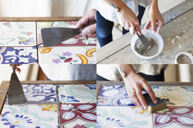 Recuperare un tavolo con piano in piastrelle