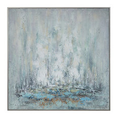 Coastal Abstract Modern Silver White Blue Painting | Large Square Gold Cream