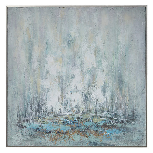 Coastal Abstract Modern Silver White Blue Painting | Large Square Gold