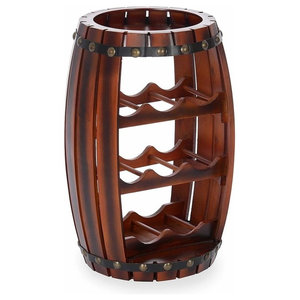 Traditional Barrel Wine Rack, Brown Finished Wood Perfect for 8-Bottle