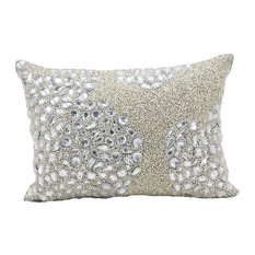 "Mina Victory Luminescence Fully Beaded Pillow, Silver, 10""x14"""
