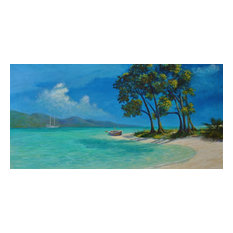 Tropical Caribbean Painting, beach and boat painting, contemporary art