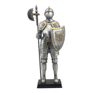 Medieval Armor With Pollaxe and Shield Statue