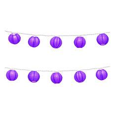 10 Round Paper Lanterns on Electric String Light, Purple