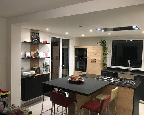cuisine ch ne sauvage blanchi et noir mat. Black Bedroom Furniture Sets. Home Design Ideas