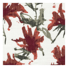 Fabric Sample Kendal Scarlet Red Watercolor Floral Cotton Linen