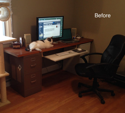 New office desk from old cabinets