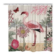 laural home botanical flamingo shower curtain shower curtains
