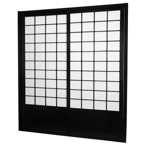 7' Tall Zen Shoji Sliding Door Kit, Black