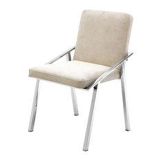 """Ecru Velvet Chair , Eichholtz Reynolds, Beige, 20""""x22""""x31"""""""
