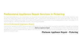 Appliance Repair Pickering - Platinum Appliance Repair (289) 277-0430