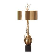 Global Views Twig Bulb Lamp, Brass