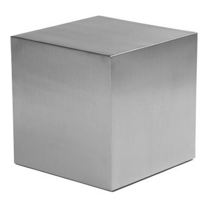 Cube End Table in Brushed Steel, Large