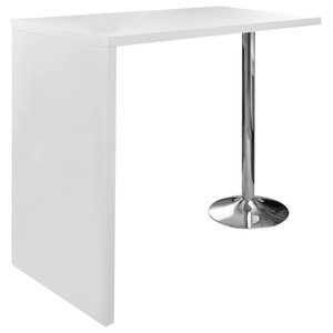 VidaXL High Gloss Bar Coffee Table Dining With 1 Leg, White