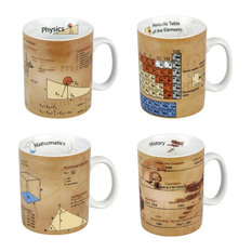 Assorted Mugs of Physics, Mathematics, Chemistry and History Knowledge, Set of 4