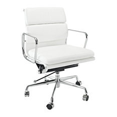 Aluminum Group Softpadded Mid-Back Office Chair Real Leather, White