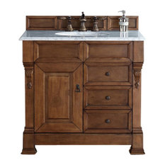 "Brookfield 36"" Country Oak Single Vanity Drawers 2CM Carrara White Marble Top"