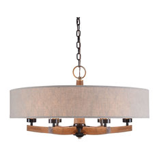 Uttermost Woodall 6 Light Drum Chandelier Farmhouse