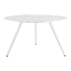 """Modway Lippa 54"""" Round Artificial Marble Dining Table With Tripod Base, White"""